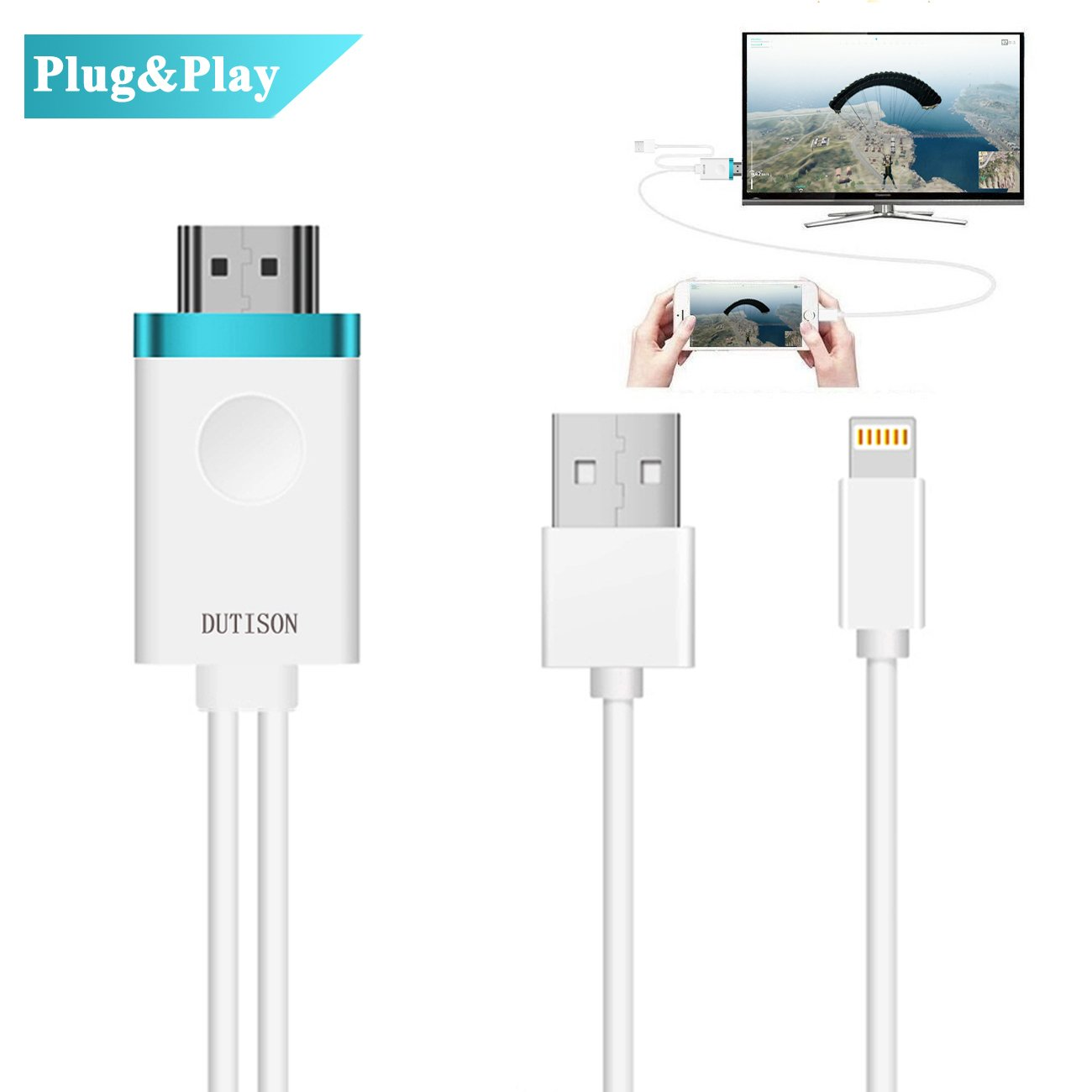 DUTISON IPhone to TV Cable, Iphone to HDMI Adapter Digital AV to 1080P HDTV Cord Converter for iPhone X/8/8+/7/7+/6/6+/5S HDMI Connector Dongle for iPad iPod Pro Air Mini Plug and Play- 6ft