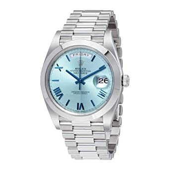 c3d6ce941 Image Unavailable. Image not available for. Color: Rolex Day-Date Automatic  Ice Blue Dial Platinum Mens Watch 228206IBLSRP