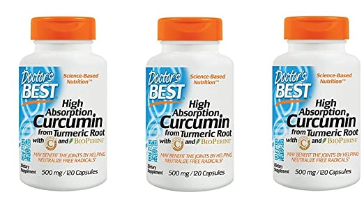 Doctor's Best Curcumin From Turmeric Root, Non-GMO, Gluten Free, Soy Free, Joint support, 500mg Caps with C3 Complex & BioPerine, 120 Capsules (3)