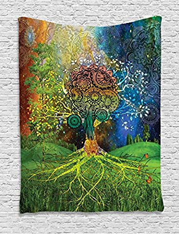 Ethnic Tapestry by Ambesonne, Tree in the Valley with Spiral Branch Balance in Mother Earth Zen Art Illustration, Wall Hanging for Bedroom Living Room Dorm, 40 W X 60 L Inches, Green - Christmas Tree Tapestry