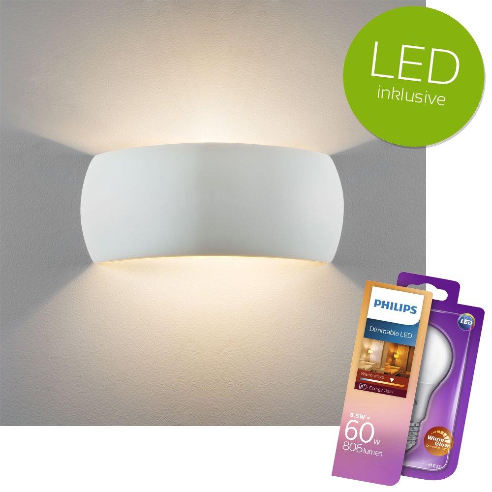 Wandlampe Innen Aus Gips Inkl. Dimmbarem LED Leuchtmittel Von PHILIPS | Wandlampe  LED