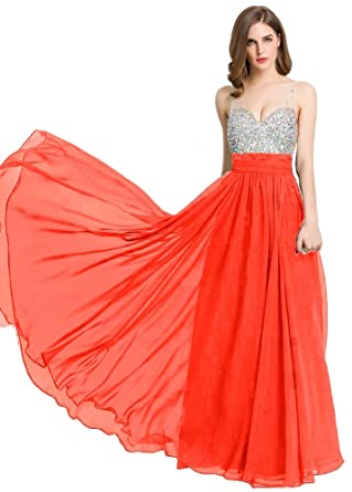 Beauty-Emily Long Prom Dresses 2017 Beaded Bridesmaid Gowns Christmas Gifts Night Evening Dress Coral