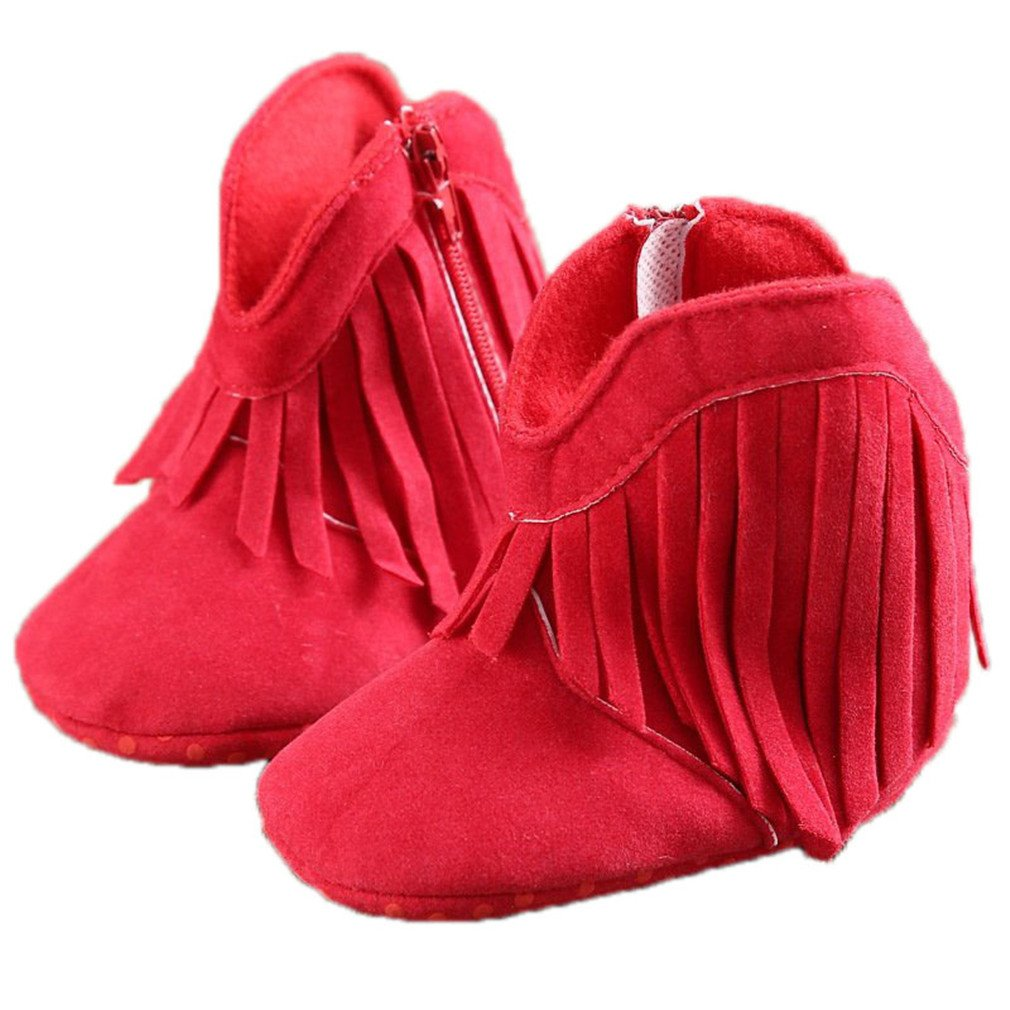 Soft Soled Anti-Slip Boots Booties Baby Boots Girl Boy Kids Solid Fringe Shoes