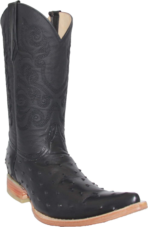 Men Belt Ostrich Quill Design Embossed Leather Cowboy Western Dress Black