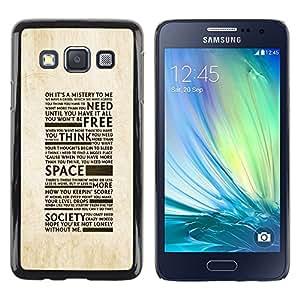 TECHCASE**Cubierta de la caja de protección la piel dura para el ** Samsung Galaxy A3 SM-A300 ** Freedom Of Society Typography