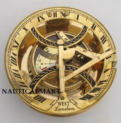 Nauticalmart 5 Inch Functional Round Brass Sundial Compass by NAUTICALMART