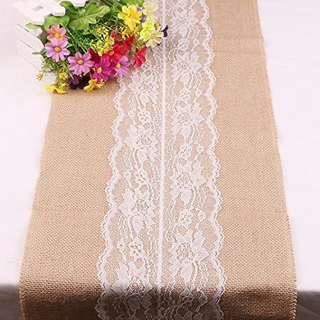 30cm x 215cm Vintage encaje blanco camino de mesa de yute natural yute pa/ís decoraci/ón de boda fiesta casa