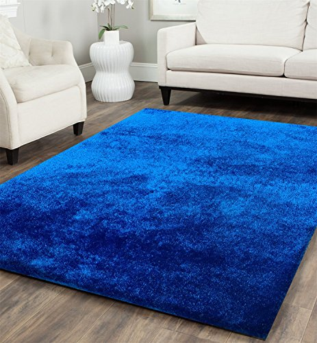 Chic Hand Tufted Rug - CHIC RUGZ Amore Collection Hand Tufted Weave Solid Electro Blue Shag Area Rug, 7' 6
