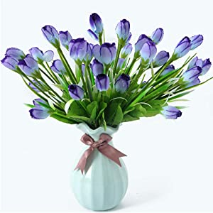 Beferr Water-Drop Tulip Flowers 4 Bunch Artificial Fake Silk Flower for Home Office Party Table Decor (Blue)