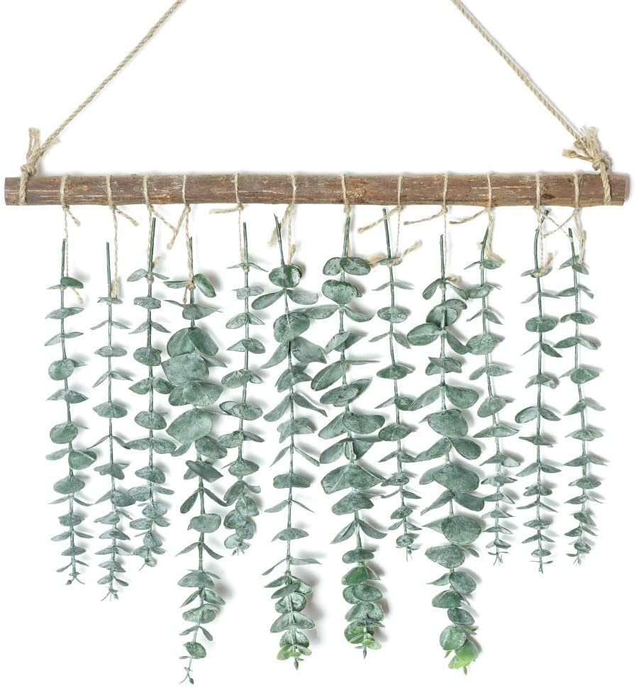 Artificial Eucalyptus Wall Hanging Decor-Fake Eucalyptus Leaves Greenery Farmhouse Rustic Wall Hanging for Wedding,Bedroom,Kitchen,Nursery and Bathroom,Boho Home Decorations(Green)