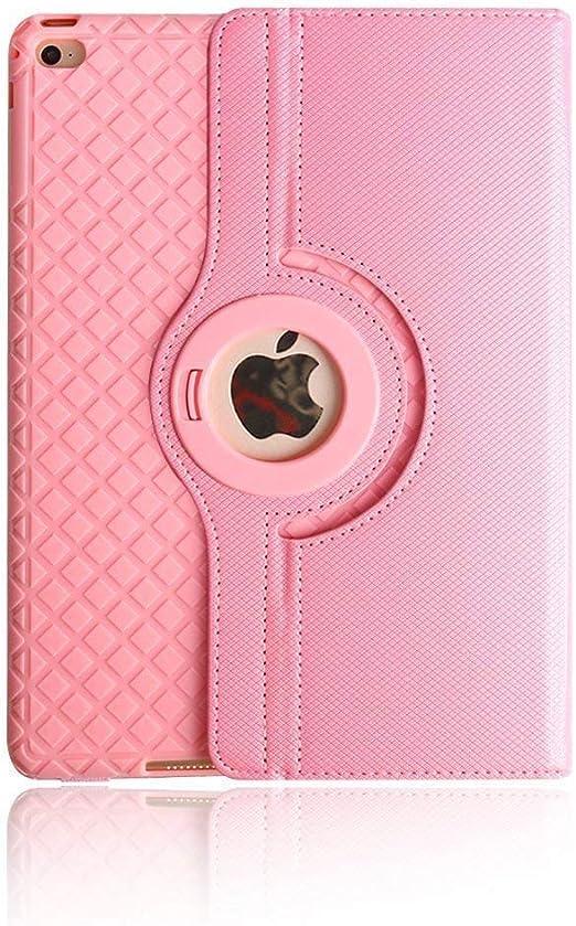 TechCode Estuches para iPad Air 2, 360 Estuche de Soporte Giratorio de Cuero con Ajuste magnético Flip Folio PU con función Inteligente de Reposo/Reposo automático para Apple iPad Air 2 (Rosa): Amazon.es: