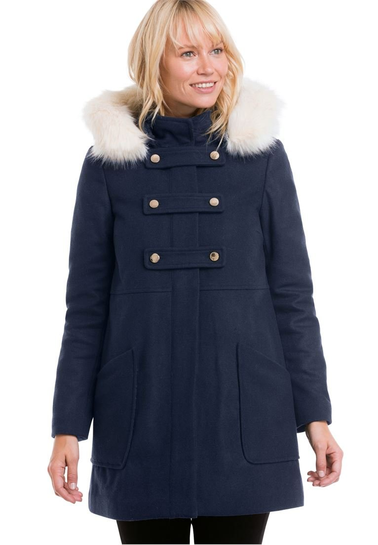Ellos Women's Plus Size Faux Fur Wool-Blend Coat Navy,18