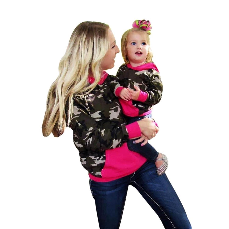 Mere et Bebe Vetement , Automne Sweat Shirt Imprime Camouflage Pullover Ensemble pour Famille