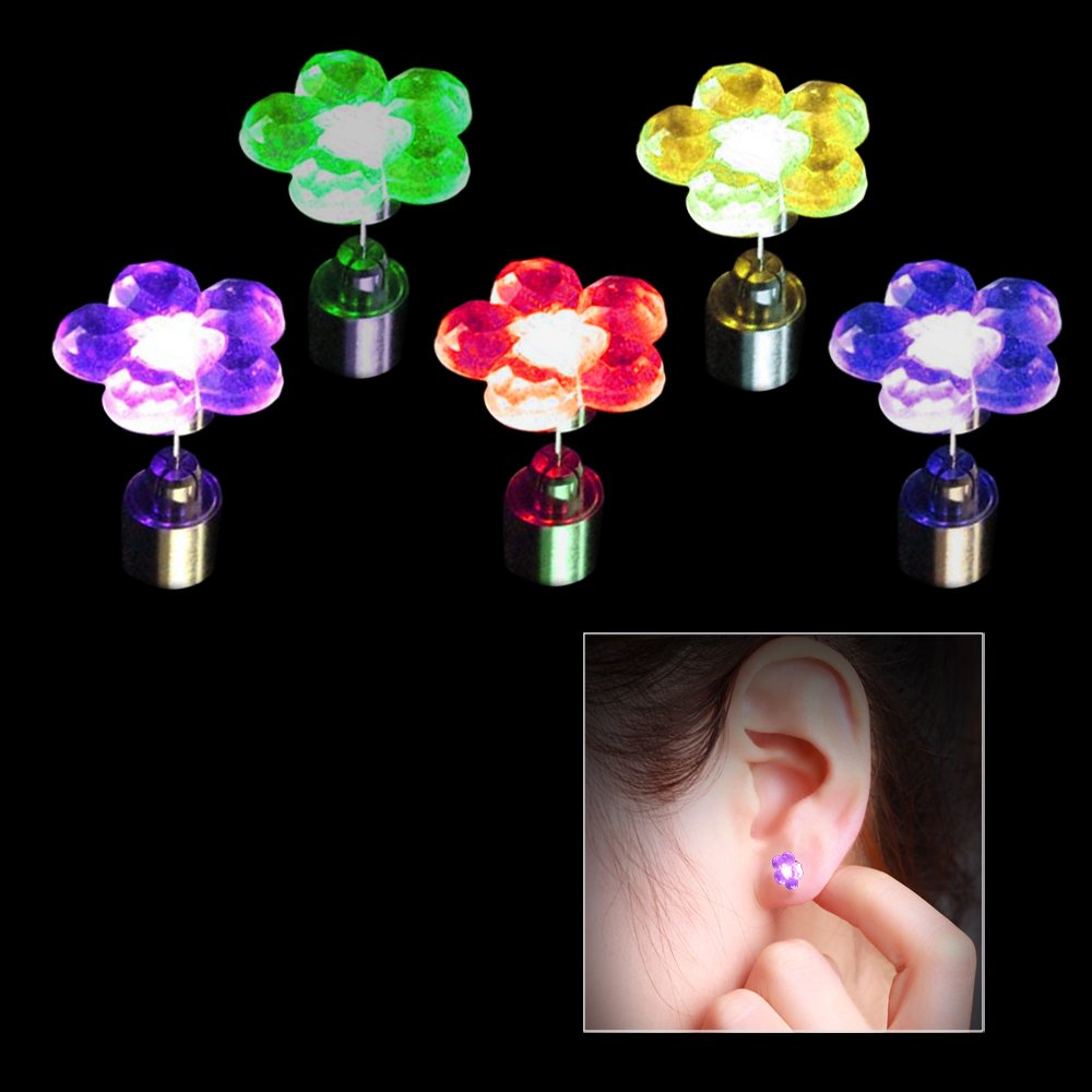 Toy Cubby Kids and Adult Flashing Flower LED Earrings - 4 pairs / 4 colors