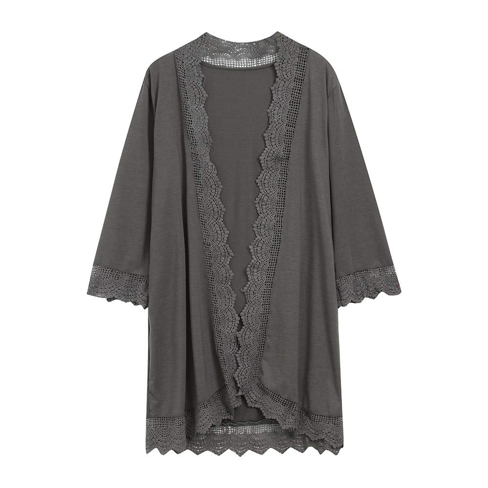 Women's Lace Cardigan Coat Tops Detail 3/4 Loose Ruffle Bell Sleeve High Low Kimono Cardigan Cover up(Gray,M)