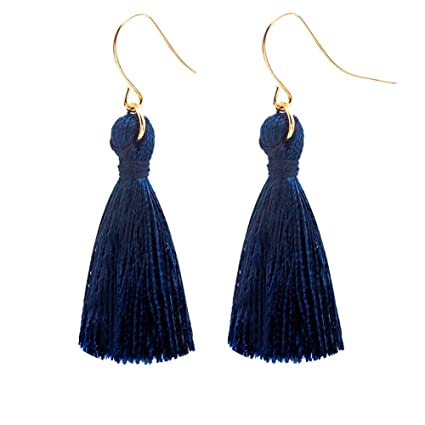 Qiao Nai TM Mujeres Moda Pendientes Borlas Largo Elegante Flecos con Gancho Joyería (Azul marino