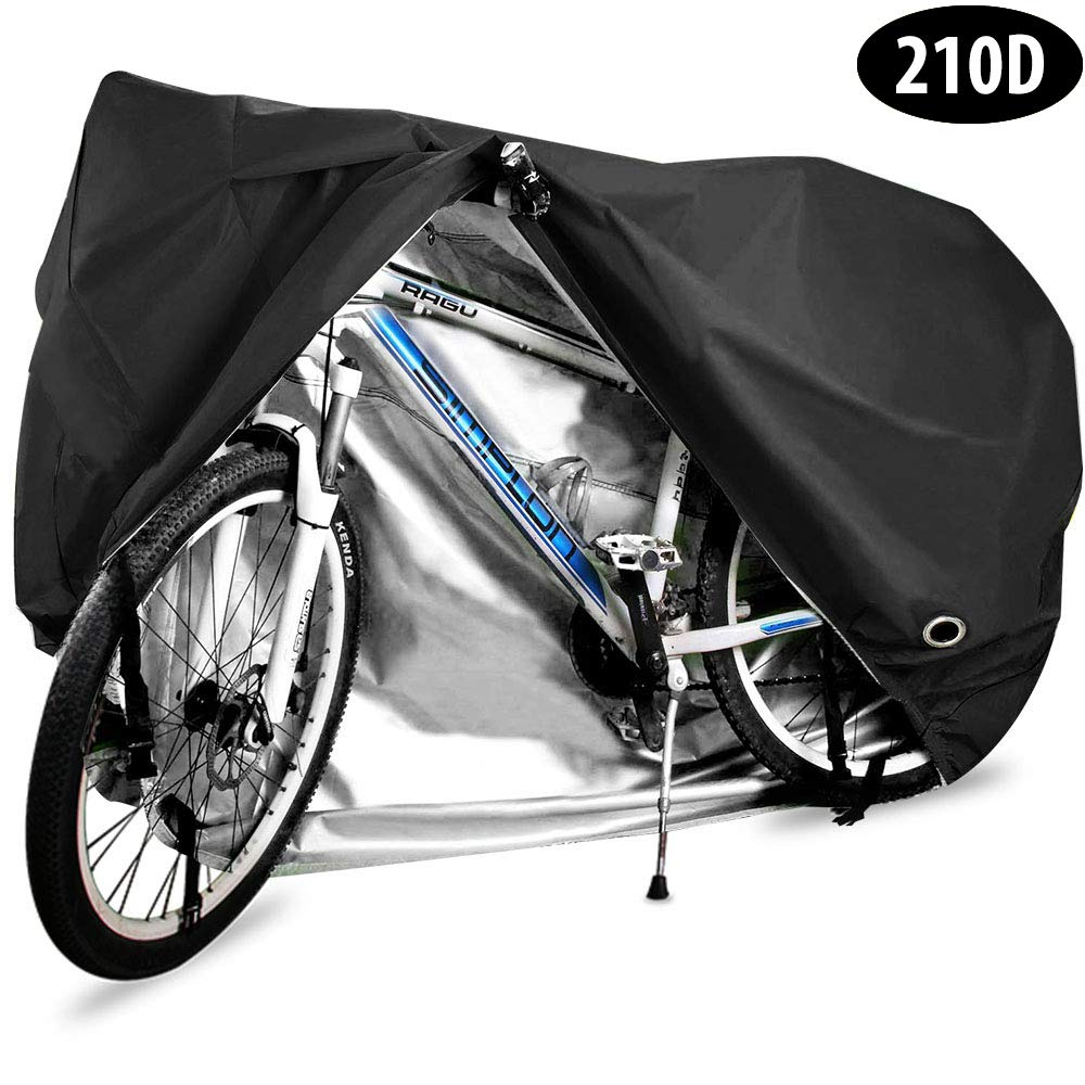 HCFGS Bike Cover, 210D Oxford Fabric Outdoor Waterproof Bicycle Cover UV Dust Sun Wind Proof Motorcycle Covers for Mountain Road Electric Bike Tricycle (Black) by HCFGS