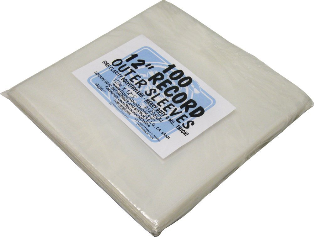 (100) 12' Record Outer Sleeves - PREMIUM - 4mil Thick by Square Deal Recordings & Supplies 12SE04