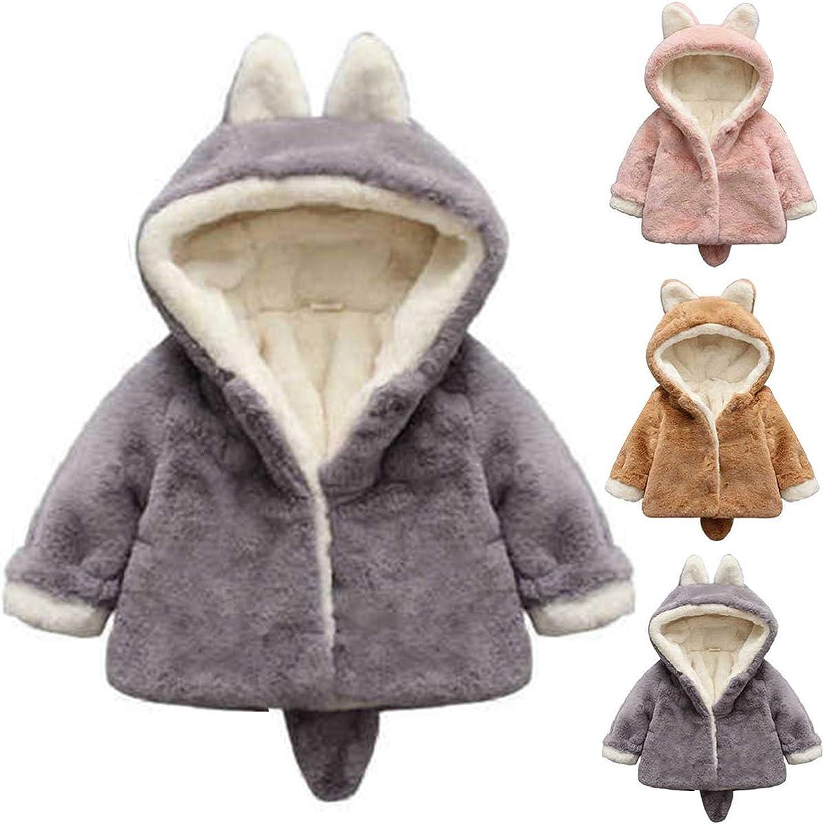 greatmtx Manteau dhiver pour Petite Fille Veste Chaude /épaisse et Douce avec Capuche