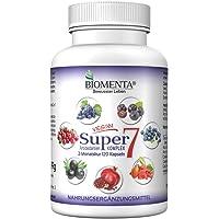 BIOMENTA SUPER7 COMPLEXE ANTIOXYDANT   avec OPC extrait de pépins de raisin + Canneberge + Goji Berries + Aronia + Grenade + Acai Berry + Myrtille   120 Antioxydant Gelules   pendant deux de mois