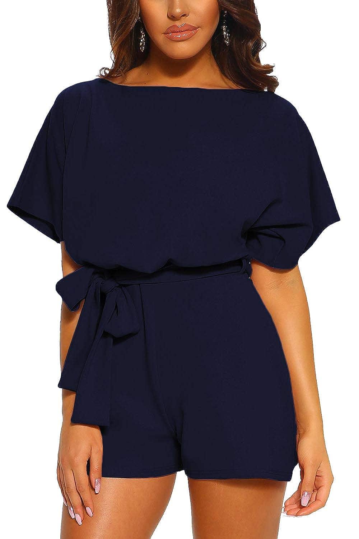 Yidarton Combishort Femme Romper Combinaison Short Chic Robe Plage D/Ét/é avec Ceinture