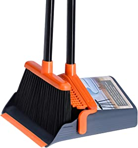 """LEAVINSKY Broom and Dustpan Set, Broom Dustpan with 40""""/52"""" Long Handle, Comb Teeth and Rubber Lip Design, Upright Broom and Dustpan Set for Home Room Office Lobby Floor Use,Orange"""