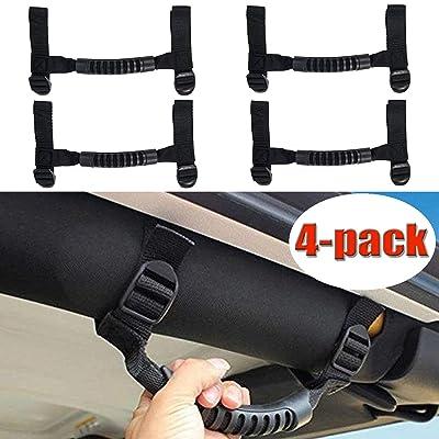 Bestong 4Pcs Grab Handles Roll Bar Grip Hand Holder for Jeep Wrangler YJ TJ JK JKU Rubicon Unlimited X 2/4 Door 1995-2020 Pillar Rear Side Rear Seat (Black, Long): Automotive [5Bkhe0803719]