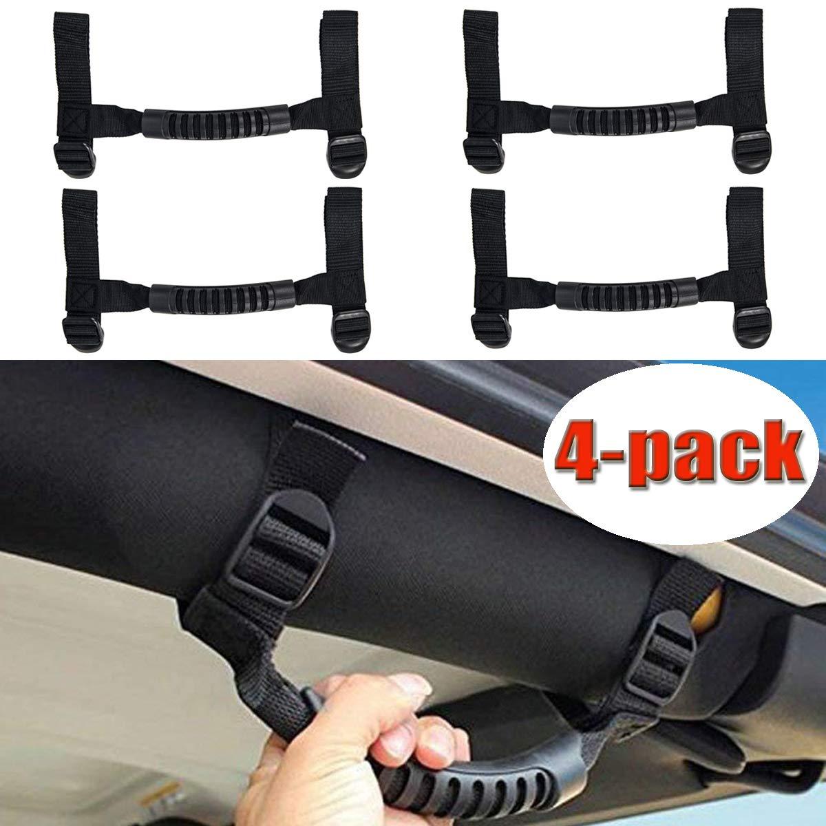 Black, Short Tongbest Bestong 4Pcs Grab Handles Roll Bar Grip Hand Holder Jeep Wrangler YJ TJ JK JKU Rubicon Unlimited X 2//4 Door 1995-2018 Pillar Rear Side Rear Seat