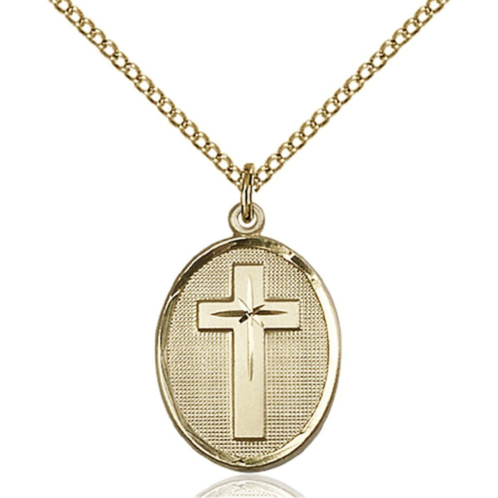 Gold Filled Cross Pendant 3/4 x 1/2 inches with Gold Filled Lite Curb Chain