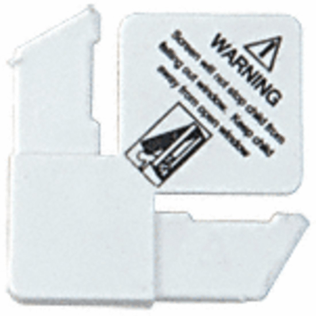 CRL 7/16'' White Square Cut With Lift Tab Plastic Screen Frame Corner With Warning - 100 Pack