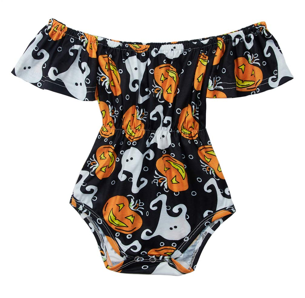 BFUSTYLE Halloween Unisex Newborn Infant White Ghost Ruffle Onesie Little Kids Jumpsuit Short Sleeves Dress Baby Girl Cotton One-Piece Apparition Bodysuit Rompers for Fall