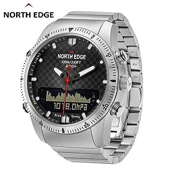 Diuspeed North Edge Hombres Sport Smart Reloj, Hombre Relojes Militar Ejército Luxus Full Steel Business Resistente al Agua 100 M Altímetro Brújula: ...