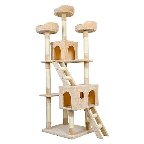 LEMAIJIAJU Árbol para Gatos Rascador Sisal Natural con Columnas con Dos Cama, Tres plataformas,
