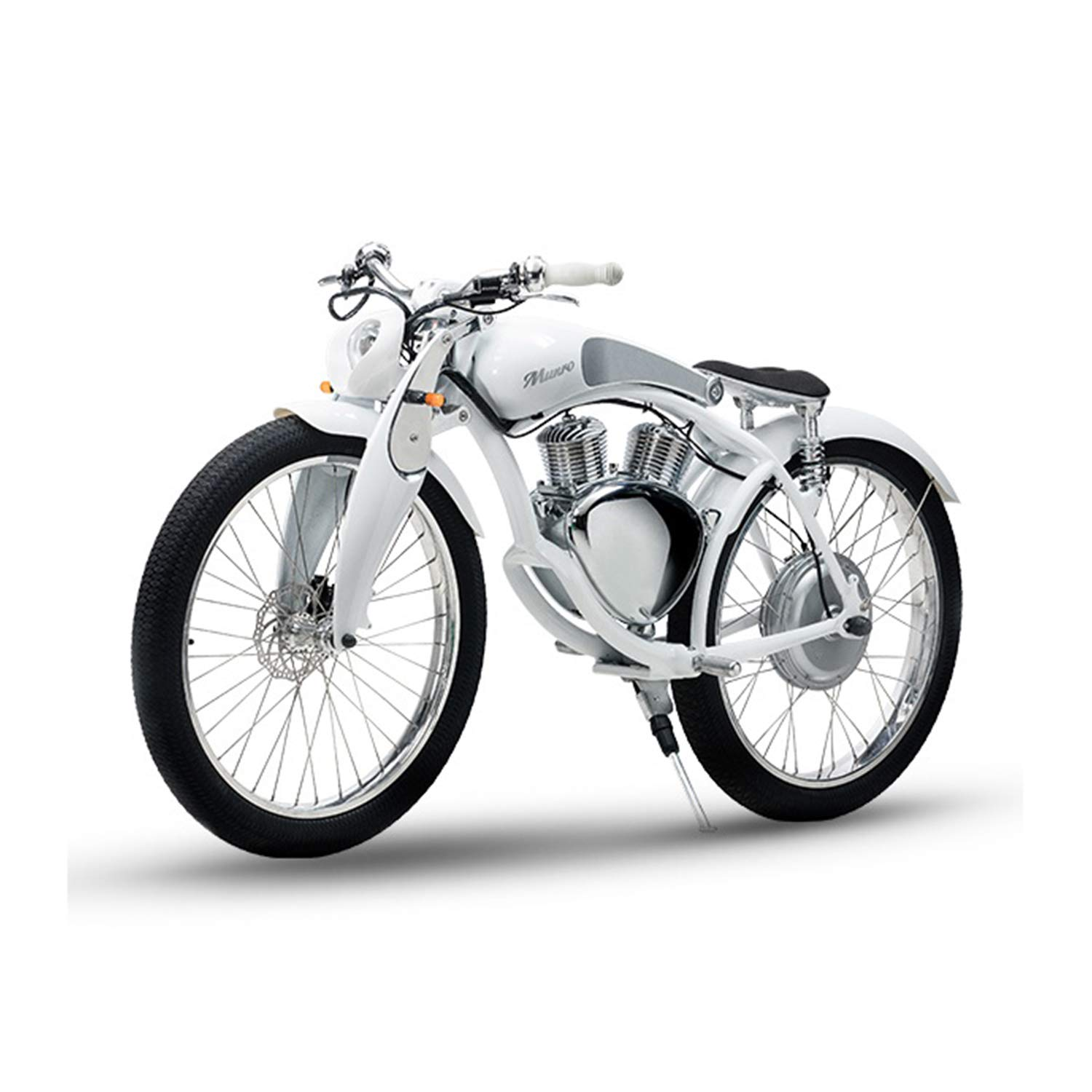 SHI PAO Munro Electric Motorcycle, 2 Wheels Classical Style Retro Motorbike, Removable 48V500W11.6Ah Lithium Battery Green Energy CityBeach Cruiser