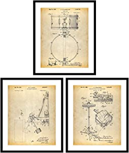 Bestbuddy Pet 8X10 Unframed Drum Art Patent Posters Series Set of 3 Drummer Art Cymbal Drum Patent Snare Drum Percussion Music Room Decor Boys Room Décor N045