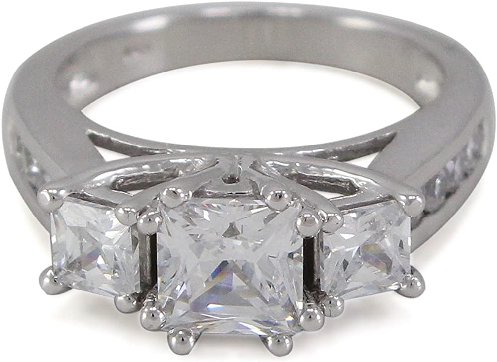 TVS-JEWELS White Platinum Plated 925 Sterling Silver Wedding Ring for Women with Round Cubic Zirconia
