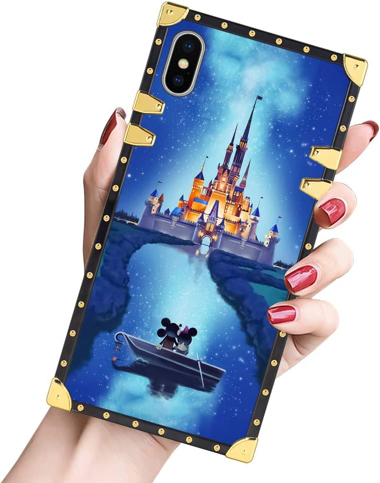 DISNEY COLLECTION Luxury iPhone X, iPhone Xs Case Square Cover Mickey Castle 1 Design Flexible Soft TPU Reinforced Metal Decoration Corners Slim Shockproof Case for iPhone X/XS