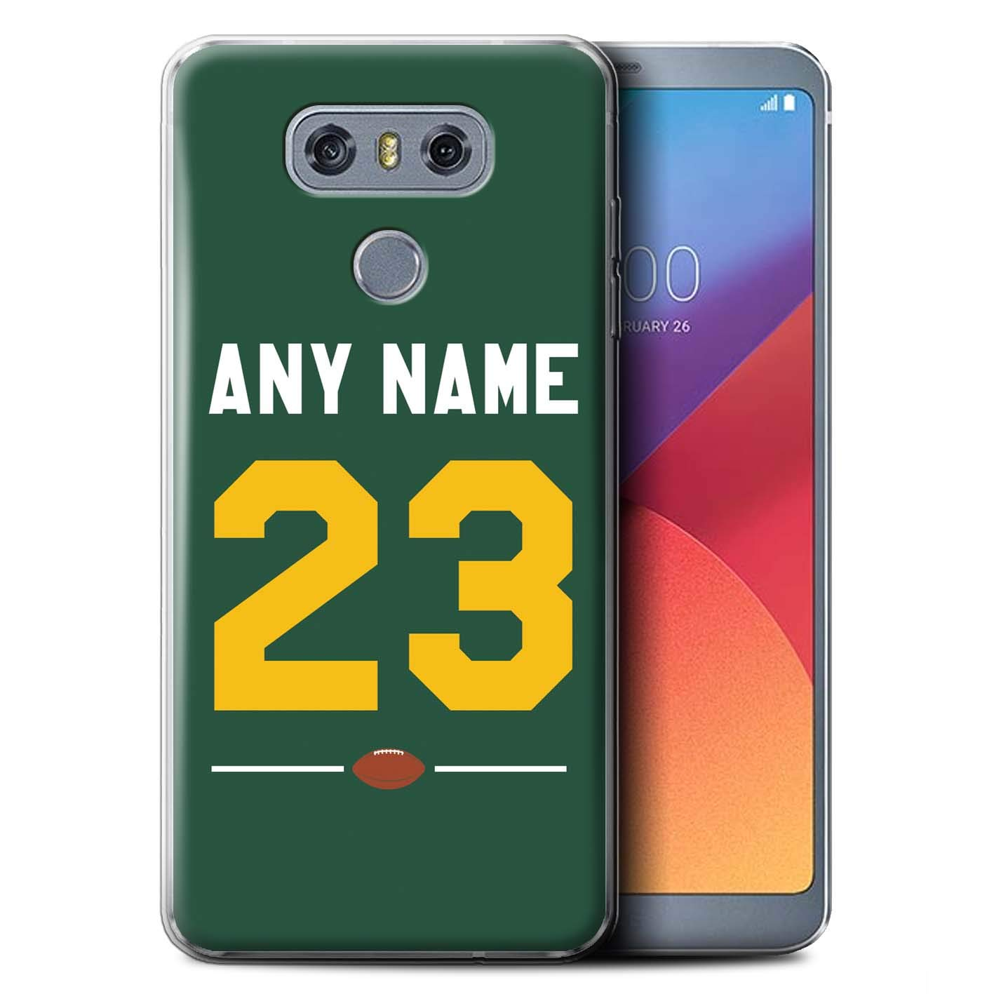 Personalized Custom American Football Jersey Kit Gel/TPU Case for LG G6/H870/LS993/VS998 / Dark Green/Yellow Design/Initial/Name/Text DIY Cover
