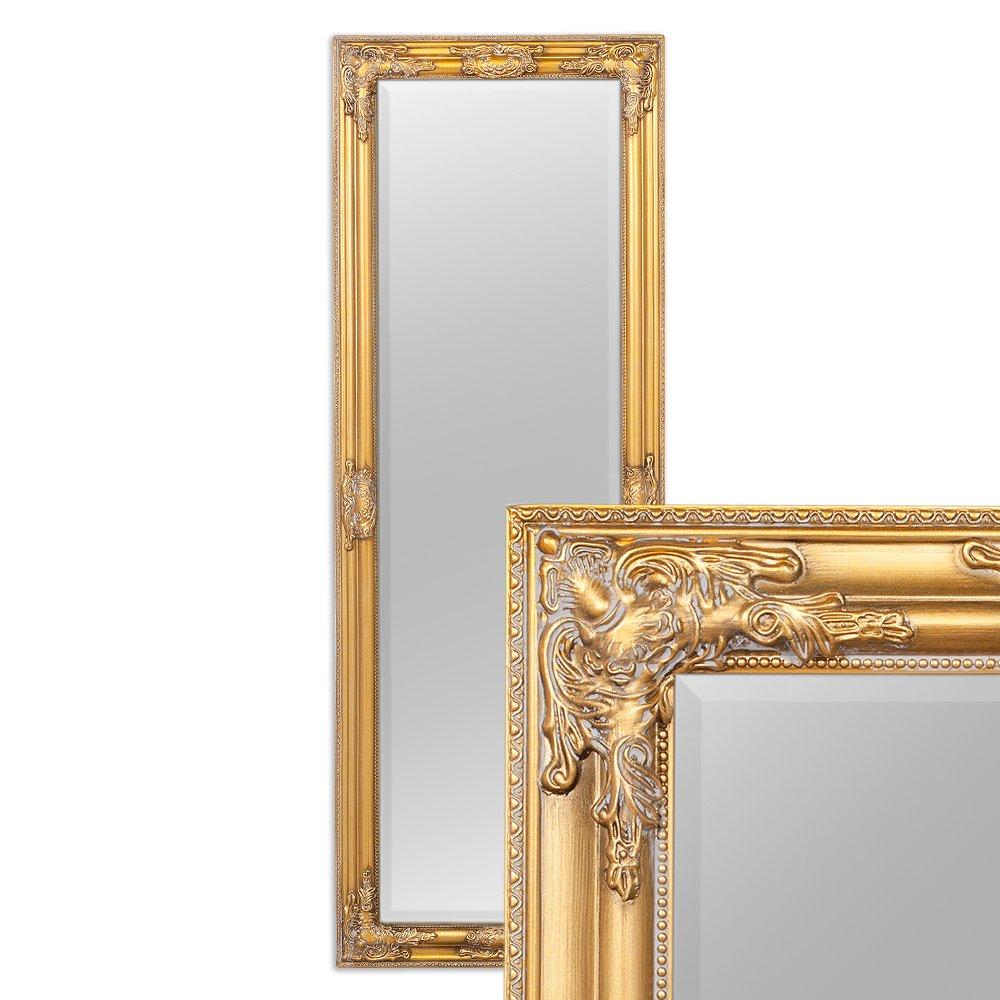 LEBENSwohnART Wandspiegel BESSA Gold Antik 140x50cm Barock Design Spiegel pompös Holzrahmen