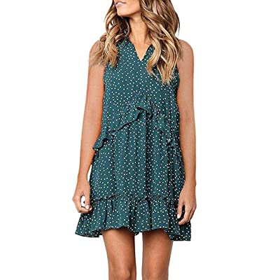 HIRIRI Mini Dress Women V Neck Cross Ruffle Polka Dot Loose Swing Casual Short T-Shirt Dress: Clothing