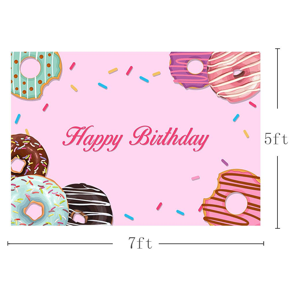 c5f4d5ebb99c3 Amazon.com   MEHOFOTO Donut Themed Happy Birthday Party Decoration Banner  Photo Studio Background Pink Girl Princess Photography Backdrops Props  7x5ft ...