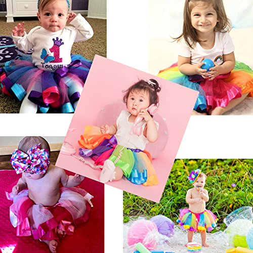Bingoshine Layered Tulle Rainbow Tutu Skirt for Newborn Baby Girls Photography Outfit Sets Dress up with Colorful Headband (Purple Rainbow, S,0-24 Months) by Bingoshine (Image #4)