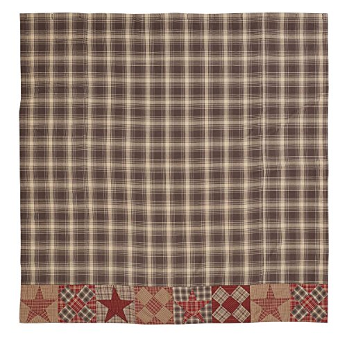 VHC Brands Rustic & Lodge Bath - Dawson Star Brown Patchwork Shower Curtain 72 x 72