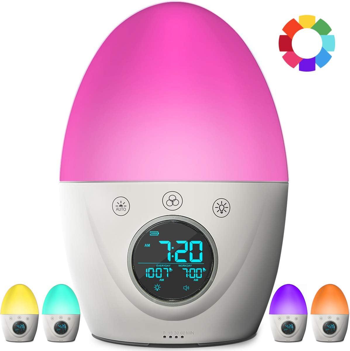 FiveHome Kids Alarm Clock, Children's Sleep Trainer, 7 Color Wake Up Light & Night Light, Sleep Timer -Teaches Child When Fine to Wake Up (V 2.0)
