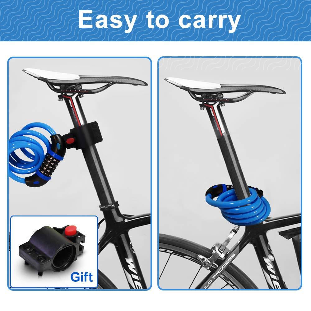 Candado de Cable 5 D/ígitos Oursun Candado de Bicicleta Antirrobo Bloqueo Cable de Seguridad de Bicicleta 120cmx12cm