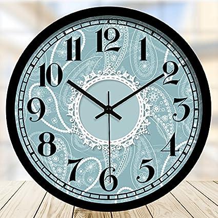 """Reloj de pared Reloj de cuarzo de entramado azul silencio, 12"""" Digital borde negro"""