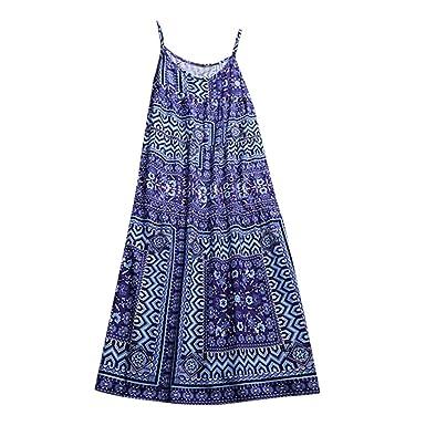 a5c70ea39777 Amazon.com: Amlaiworld Women Cotton Linen Camisole Dress Casual Long Maxi  Sundress Beach Party Boho Floral Print Dress Halter Long Shirt: Clothing
