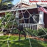 HUFUN Halloween Spider Decorations 2 Pack (1 Spider + 1 Web) Giant Spider 75cm/30 '' + Huge Spider Web 16.4x15.7 Feet Component of Huge Spider and Mega Triangular Spider Web Halloween Party Supplies Yard Halloween Outdoor Décor Haunted Decoration