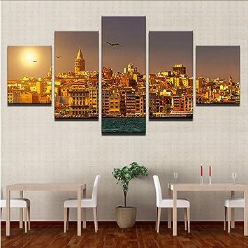 lbonb Pas De Cadre Peinture sur Toile Salon Mur Affiche 5 ...