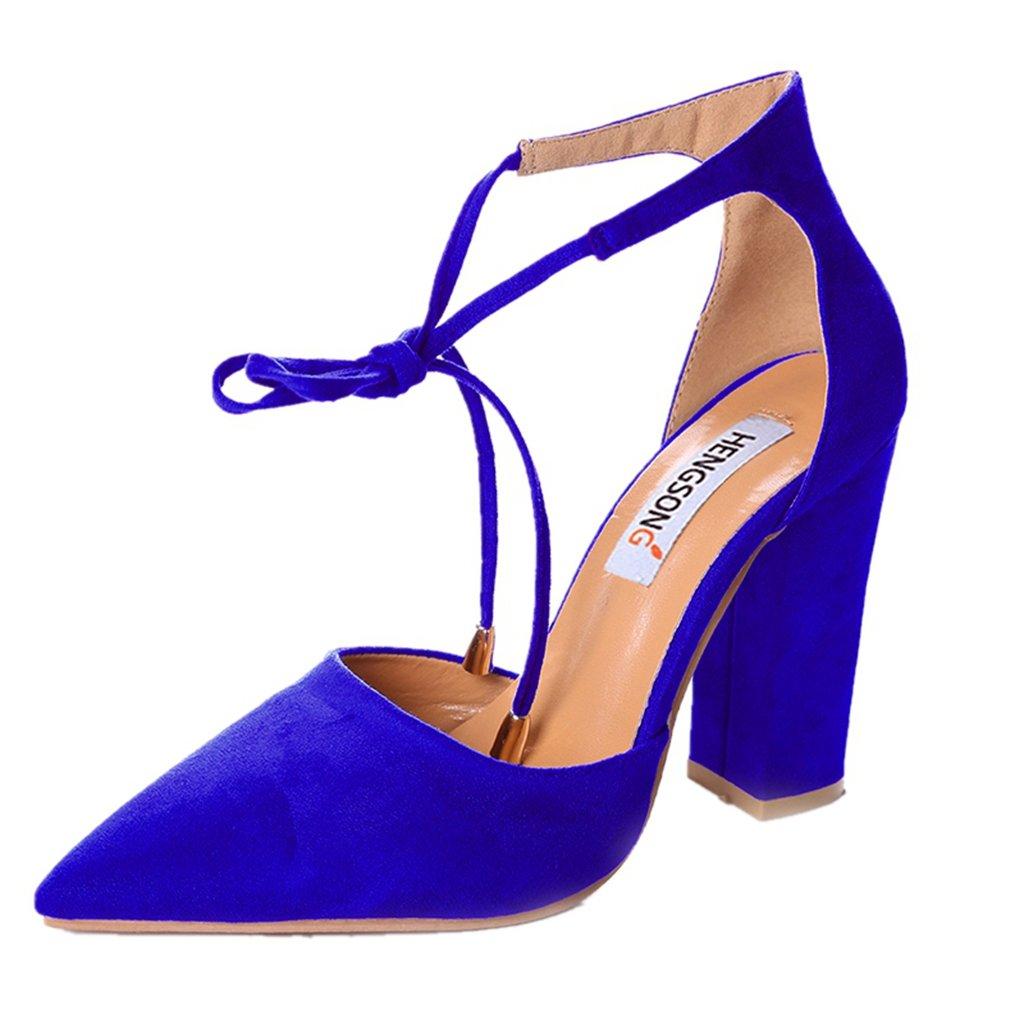 Hengsong Femme Eté Sandales Sandales à Talons Talons Peu Profondes Chaussures Bouche Suède Sandales Nœud Cheville Épais Talons Hauts Chaussures Saphir fe115cc - shopssong.space
